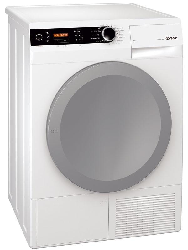 Gorenje D 9864 E, energetická trieda A–40 %, kapacita 9 kg, uhol dvierok 180°, otvor 35 cm, LED osvetlenie bubna, AutoDrain, Steam-Tech, senzor kontrolujúci úroveň vody nazhromaždenej vnádobe na kondenzát, 959 €