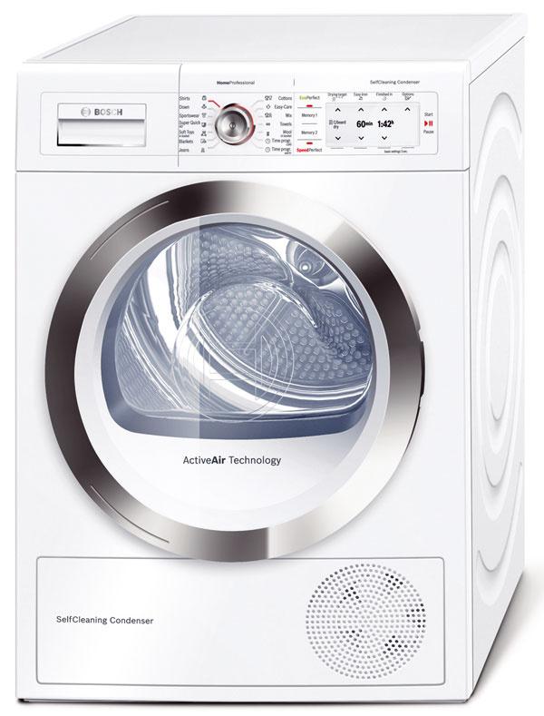 Bosch WTY88780EU, energetická trieda A–60 %, kapacita 8 kg, samočistiaci kondenzátor, tepelné čerpadlo, spotreba 0,19 kWh/kg, hlučnosť 64 dB, ecoPerfect aSpeedPerfect, SelfCleaning Condenser, 1 004,04 €