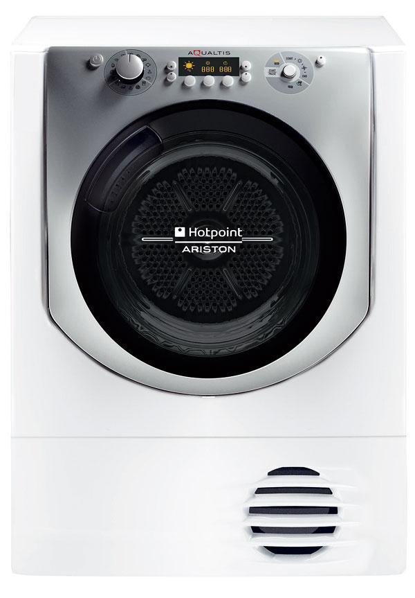 """HotPoint Aqualtis AQC9 6F7 TM1, energetická trieda A–60 %, kapacita 9 kg, hlučnosť 70 dB, tepelné čerpadlo, 7 senzorových úrovní sušenia, program """"starostlivosť pred sušením apo ňom"""", špeciálny filter, Woolmark, 779 €"""