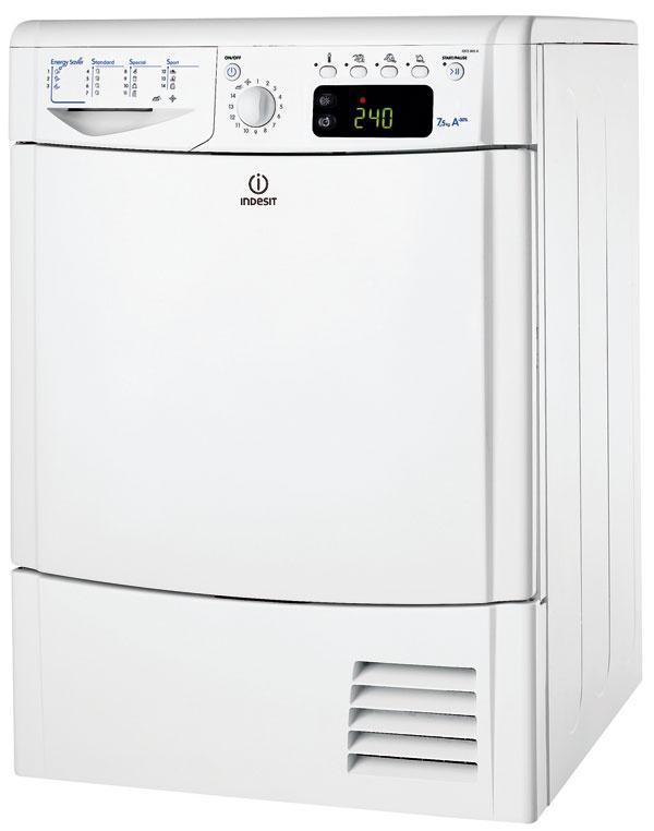 Indesit IDCE 845 AECO, energetická trieda A–30 %, kapacita 7,5 kg, hlučnosť 72 dB, tepelné čerpadlo, 16 programov, 4 úrovne automatického sušenia, vertikálny sušiak na obuv, filter na prach, srsť, vlákna, 699 €