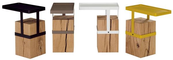 Francúzsky dizajnér Fred Rieffel navrhol pre Roche Bobois kolekciu príručných stolíkov smasívnym dreveným podstavcom vsurovom stave atvarovo prísnou amateriálovo kontrastnou oceľovou vrchnou doskou. 760 €, Roche Bobois