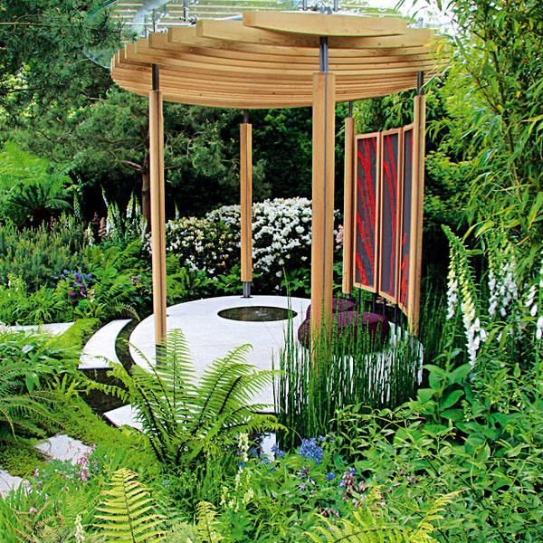 Pohoda vzáhradnej besiedke. Záhradné besiedky vnášajú do záhrad nádych romantiky. Záhradu znich môžete obdivovať celoročne – dokonca aj počas slnečných zimných dní. Ideálne je pre ne chránené miesto ukryté pred silným letným slnkom aj zimným vetrom – na konci záhrady, vblízkosti stromov, krov ruží či vlete kvitnúcich drevín. Pôsobivé sú však aj besiedky umiestnené na udržiavanej trávnatej ploche. Kbesiedke by mal byť zabezpečený dobrý prístup, najlepšie spevnený apriechodný za každého počasia. Vjej blízkosti môžete vysadiť rôzne zaujímavé trvalky.