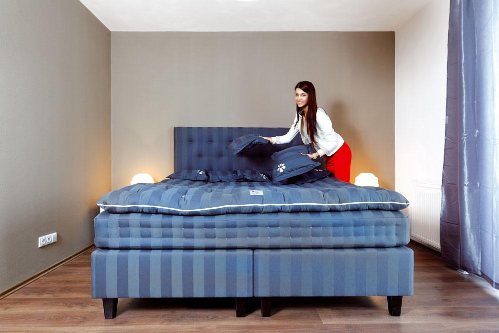 Dobrý základ spálne vytvorila kvalitná amimoriadne pohodlná antialergická posteľ Saffron, vyrobená podľa tradičných škandinávskych postupov výroby matracov (mimochodom, vcene auta). Aj túto miestnosť charakterizuje pokojná farebnosť.