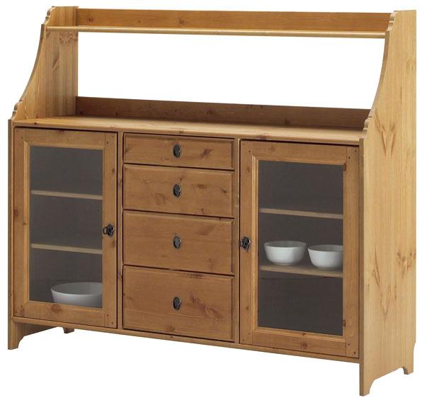 Leksvik, príborník, masívna borovica, antikové moridlo, tvrdené sklo, zásuvky so zábranou, 142 × 124 × 42 cm, 229 €, IKEA