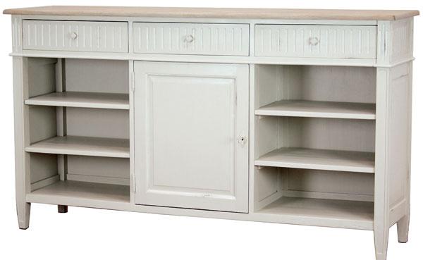 Allure, príborník so zásuvkami, skrinkou a policami, jelšové drevo s výraznou patinovanou štruktúrou, 160 × 90 × 40 cm, 655 €, tintinhal.sk