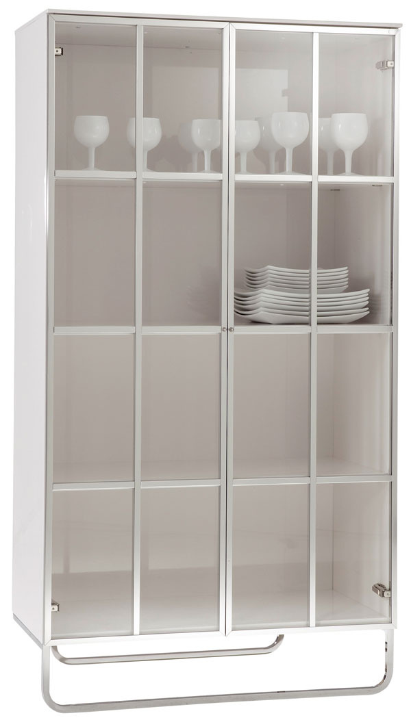 Hyannis Port, vitrína, biely lesklý lak, číre sklo, leštený hliník, dizajn Eric Jourdan, 150 × 80 × 50 cm, 2 299 €, Ligne Roset