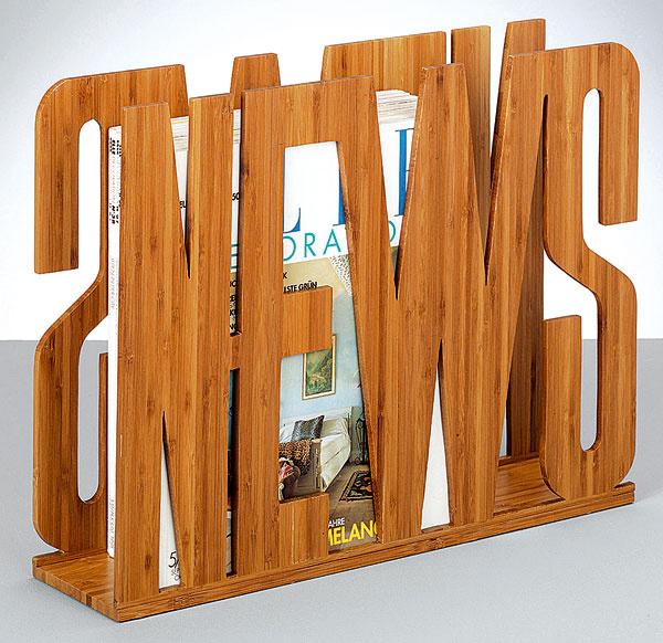 News, stojan na časopisy, bambusové drevo, 42 × 33 × 11 cm, 29,90 €, kika