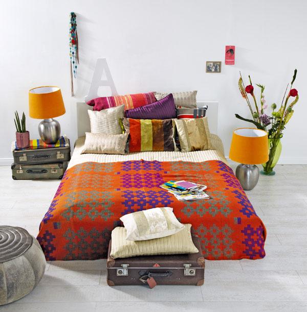 posteľ Malm so záhlavím, 211 × 197 cm, 149 €, IKEA  svetlá prikrývka avankúšmi Karit, 37€, IKEA  vankúše Dagny 30 × 50 cm, 9,99 €, IKEA  pestrofarebná prikrývka (bavlnené prikrývky na posteľ sorientálnymi vzormi), 20 €, www.bongoshop.sk nočné lampy sfarebnými tienidlami
