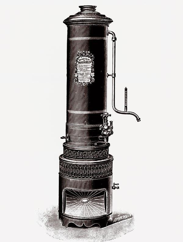 Plynový ohrievač vody Vaillant z roku 1894