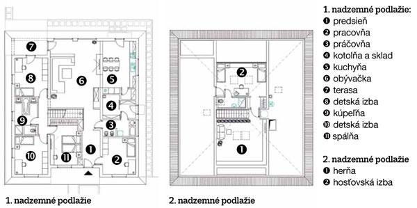 Pôdorysy  1. nadzemné podlažie: 1. predsieň 2. pracovňa 3. práčovňa 4. kotolňa a sklad 5. kuchyňa 6. obývačka 7. terasa 8. detská izba 9. kúpeľňa 10. detská izba 11. spálňa  2. nadzemné podlažie 1. herňa 2. hosťovská izba
