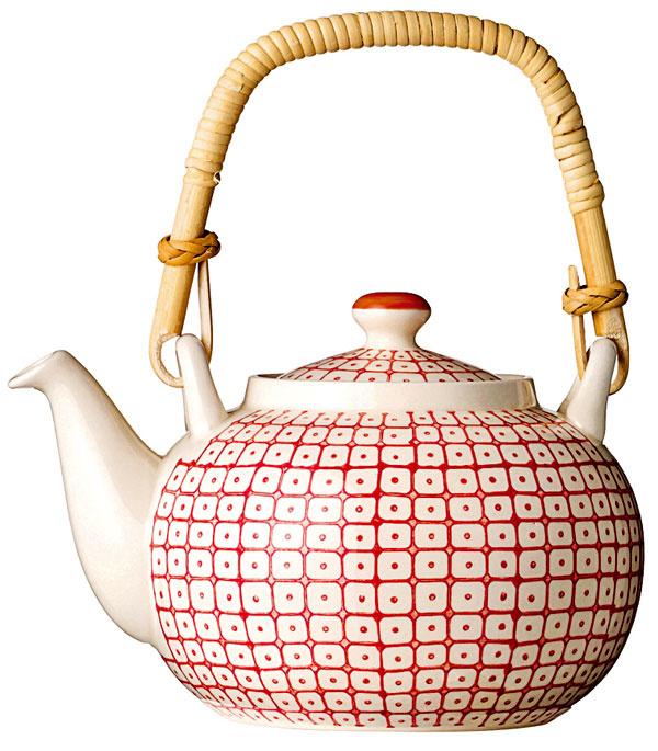 Čajová keramická kanvica Tia red s ručne maľovaným vzorom, 29,13 €, www.bellarose.sk
