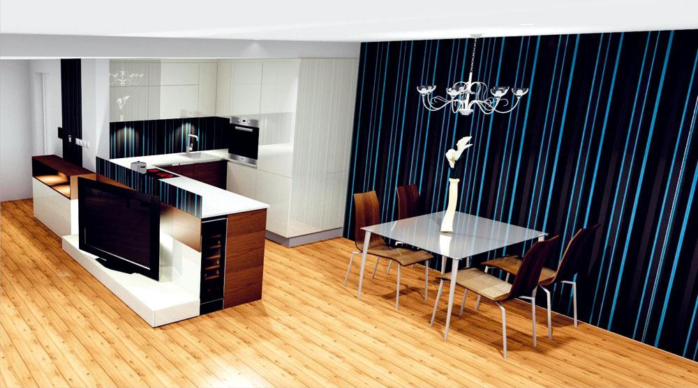 Riešenie #1  Kuchyňa je funkčne prepojená s obývačkou, a zároveň je od nej jasne opticky oddelená.