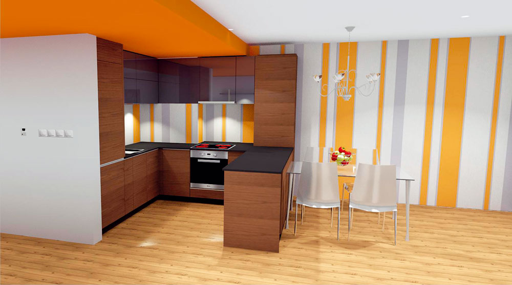 Riešenie #2 Kuchyňa má praktickejšie usporiadanie asvieža farba tapety astropu oživuje priestor.