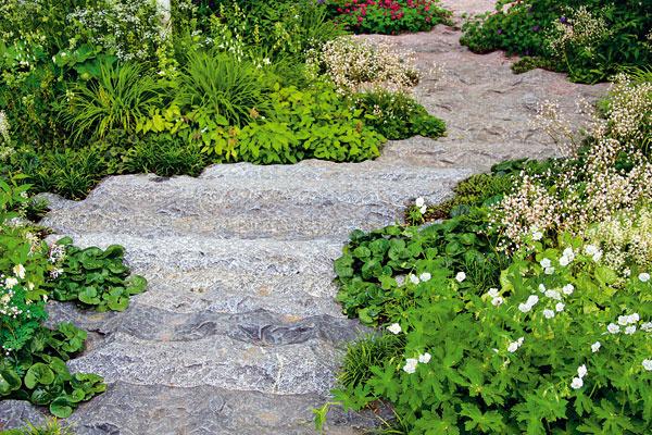Betón prezlečený za kameň. Vmodernej záhrade nahradí trendový suchý potok. Ak sa okraje takéhoto chodníka precízne vysadia, výsledok je dokonalý.