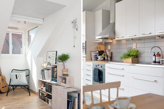 Študenstká izba a kuchyňa, samozrejme, s dominujúcou bielou.