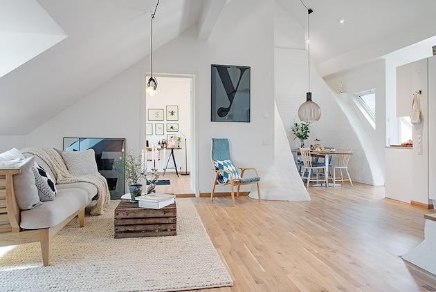 Priestorové riešenie jedálne a obývačky.