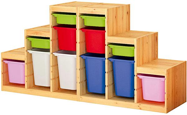 Trofast, úložná kombinácia sfarebnými škatuľami, masívna borovica, polypropylénový plast, 186 × 91 × 44 cm, 199,68 €, IKEA