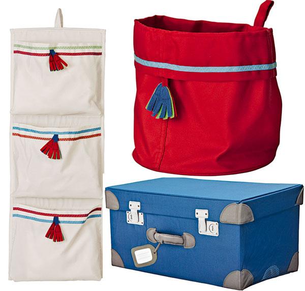 Pysslingar, úložný systém, závesné vrecká, modrý kufor, červený vak, 100 % polyester, 3,99 €, 14,99 €, 1,99 €, IKEA