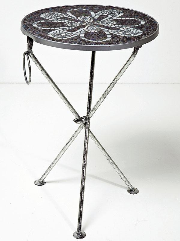 Príručný stolík Clack Flower Black zpráškovanej ocele amozaikového skla, 54 × 35,5 × 35,5cm, 79,90 €, Kare, Light Park