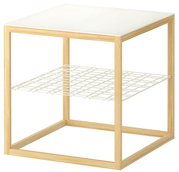 Stolík IKEA PS 2012 z bambusu, ocele a plastu, 48 × 48 × 48cm, 29,99 €, IKEA