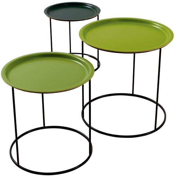 Príručný stolík Occa 2070 z lakovaného kovu, 48,5/44,5/38,5 × 48,5/43,5/37,5 cm, 289 €/3ks, BoConcept, LightPark