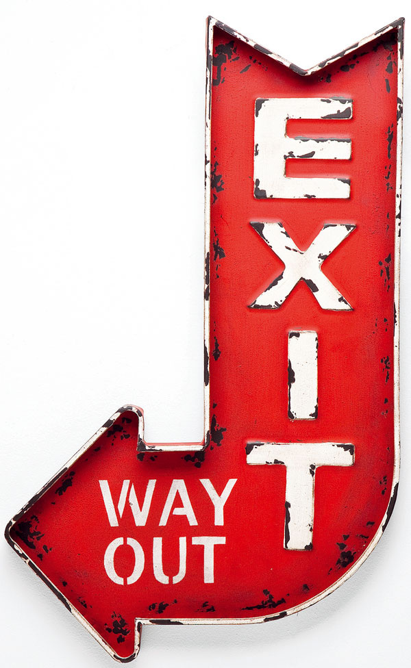 Dekorácia Exit, práškovaná oceľ, 81,5 × 49,5 cm, 56,90 €, Kare, Light Park