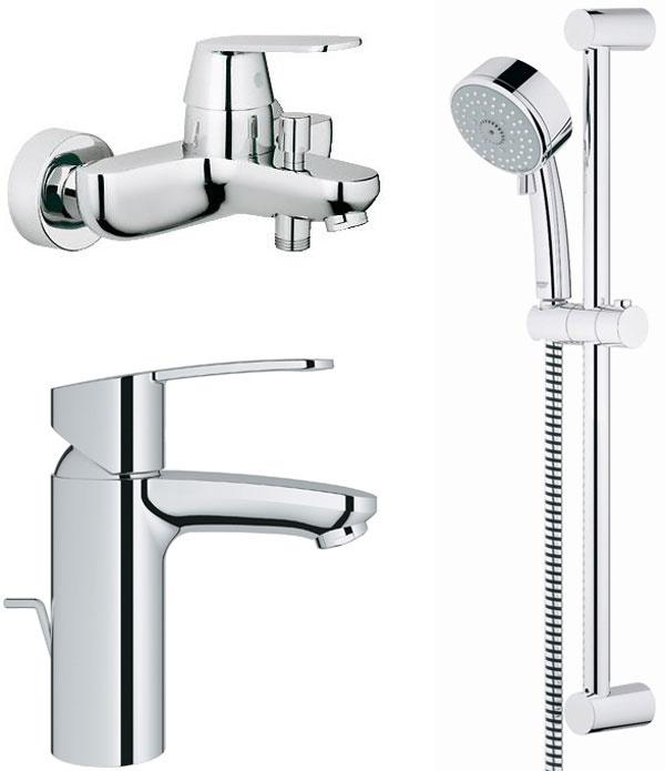 Súprava obsahuje: 1. umývadlovú batériu s odtokovou garnitúrou EUROSTYLE COSMOPOLITAN 2. vaňovú batériu, rozstup 150 mm, EUROSTYLE COSMOPOLITAN 3. sprchovú súpravu TEMPESTA COSMOPOLITAN (tyč 600 mm, ručná sprcha 3-polohová, hadica 1 500 mm)