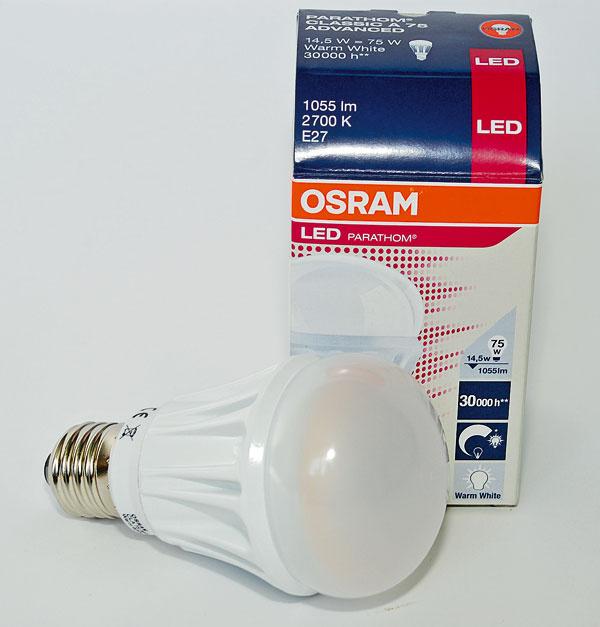OSRAM LED PARATHOM A (75 W)   príkon: 14,5 W trieda: A svietivosť: 1 055 lm stmievateľná životnosť: 30 000 h/20 0000 cyklov cena: 47,73 €