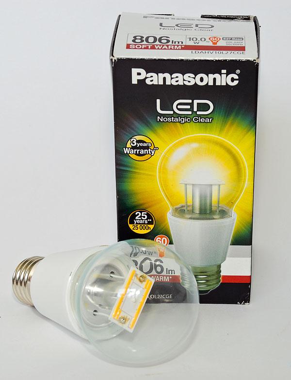 Panasonic LED Nostalgic Clear LDAHV10L27CGE (60 W)    príkon: 10 W trieda: A+ svietivosť: 806 lm nestmievateľná životnosť: 25 000 h/100 000 cyklov cena: 19,40 €