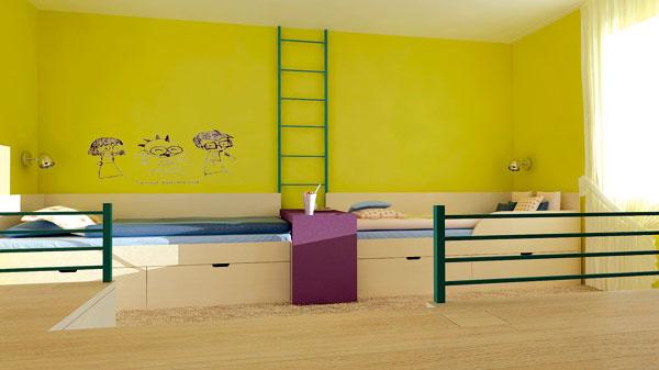 Riešenie #2 Vyvýšené pódium rozdeľuje izbu na funkčné zóny azároveň poskytuje veľkorysý úložný priestor. Finančne je náročnejšie.