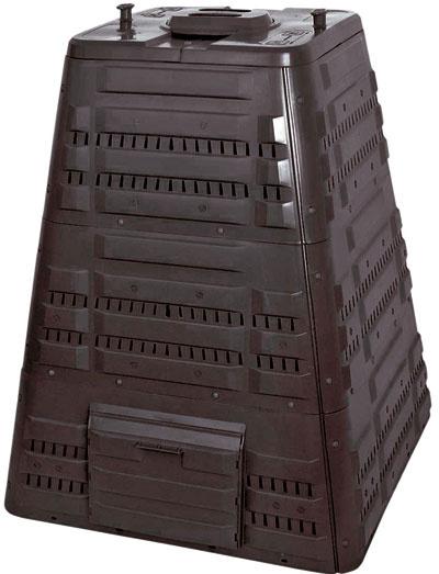 Kompostér K 700, objem 720 l, 94 × 94 × 118 cm, 17,5 kg, ihlanovitý tvar na lepšiu stabilitu a pevnosť, veko s pántmi na otváranie jednou rukou a s otočným ventilom slúžiacim na reguláciu prechodu vzduchu, bočné dvierka na vyberanie vyzretého kompostu, voľné dno, Mountfield, 76 €