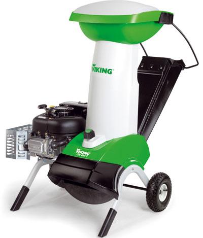 Záhradný drvič Viking GB 460 C, menovitý výkon 6 600 W pri 2 800 ot/min, priemer konárov asi 7,5 cm, výška stroja 140 cm, hmotnosť 75 kg, veľké vkladacie hrdlo, tichá prevádzka, kombinovaný vypínač s bezpečnostnou poistkou, nafukovacie pneumatiky, 1 899 €