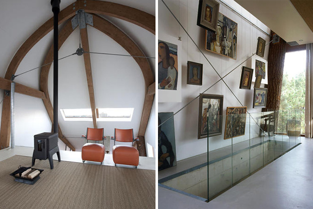 Veľké okná vpúšťajú dnu dostatok slnečného svetla. Nad schodiskom sa nachádza umelecká zbierka obrazov.