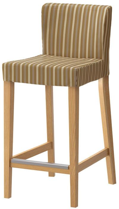 Henriksdal, čalúnená, masívny dub, oceľová podnožka, pásikavý poťah Linghem, 102 × 51 × 40 cm, 67,90 €, IKEA