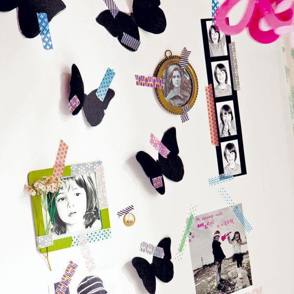 Zafixujte si spomienky  Farebnými páskami washi môžete pripevniť na stenu fotografie, plagáty, obrázky alebo výstrižky zčasopisov. Obyčajná fádna stena sa tak zmení na osobitý obraz, ktorý sa môže meniť s pribúdajúcimi zážitkami alebo snovou inšpiráciou.