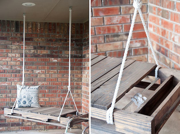 Ak bývate v dome s verandou, môžete ju vybaviť takouto jednoduchou príjemnou hojdačkou vhodnou na trávenie teplých večerov.