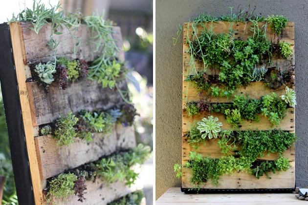 Originálny spôsob pre vytvorenie dekorácie z palety a zelene.