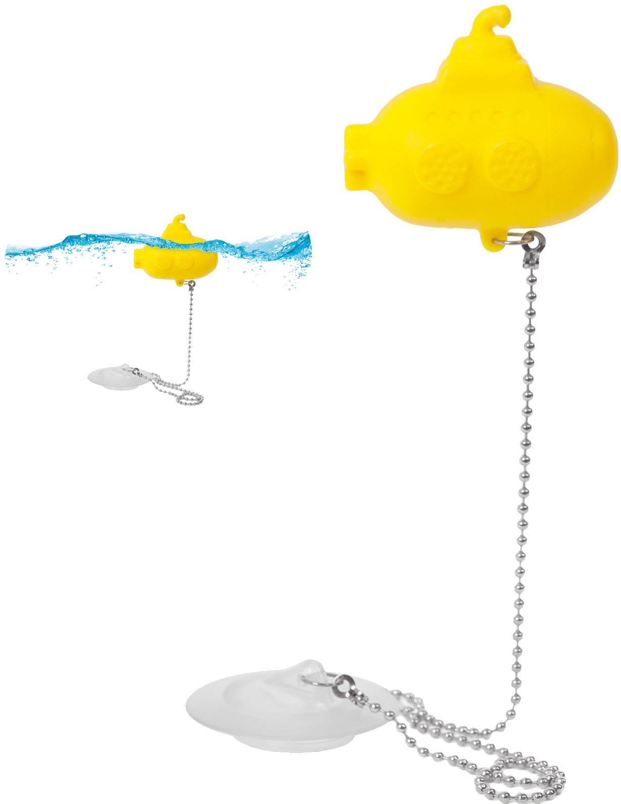 Kačička verzus žltá ponorka? Zatiaľ čo prvá zostáva na vaňovej hladine, univerzálny uzáver sa prisaje kodtoku vane, drezu aj umývadla – 1 :  0 pre ponorku. Uzáver odtoku BALVI Žltá ponorka, 7,02 €, www.bytovedoplnky.sk