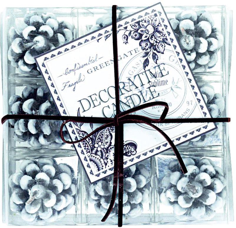 Zasnežená borovicová šiška, možnosť zakúpiť súpravu 9 ks, výška 4,5 cm, 0,66 €/ks, www.bellarose.sk