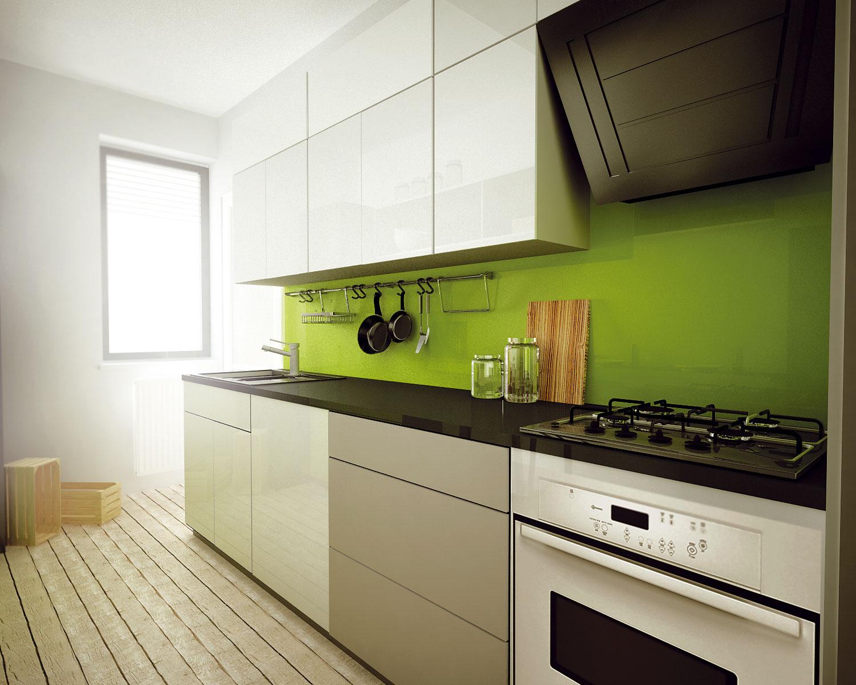 Riešenie #2 Návrh pôsobí na prvý pohľad živšie vďaka sviežej zelenej farbe. Výhodou je väčšia pracovná plocha aj umývacie centrum.