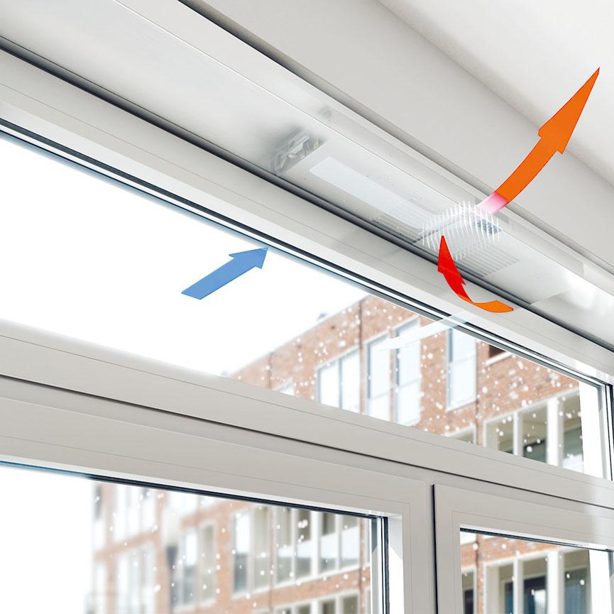 Systém vetrania integrovaný do okenného rámu so spätným získavaním tepla avonkajším prachovým apeľovým filtrom vzduchu Schüco VentoTherm je vďaka nízkej hlučnosti vhodný aj do spálne. Spätným získavaním tepla (rekuperáciou) sa vzduch predhreje na 45 % aznížia sa energetické straty vetraním až o35 %. Vetranie riadi senzor množstva CO2, resp. vlhkosti.