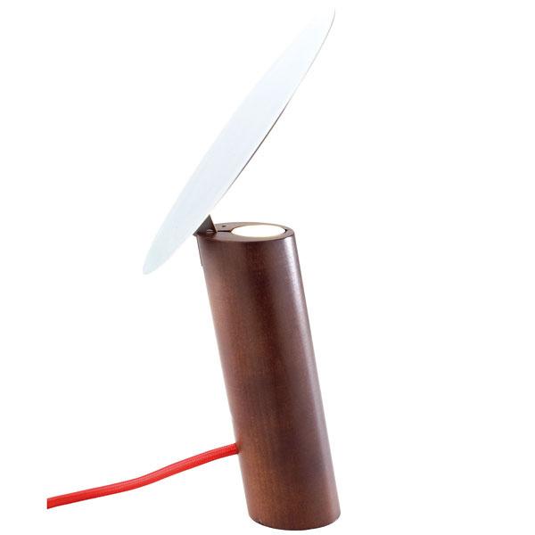 Paon, podstavec – americký orech, nastaviteľné tienidlo – leštená oceľ, LED 30 W, 33,5 × 20,5 × 19 cm, 362 €, LigneRose