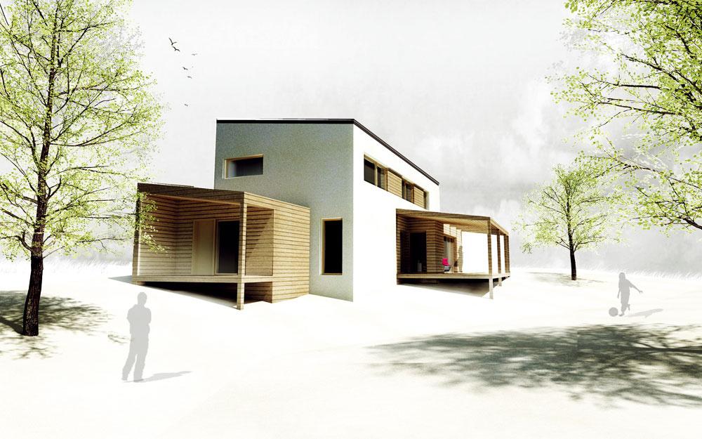 Budúca podoba domu. Hlavné zasklené plochy sú orientované na juh ana západ.