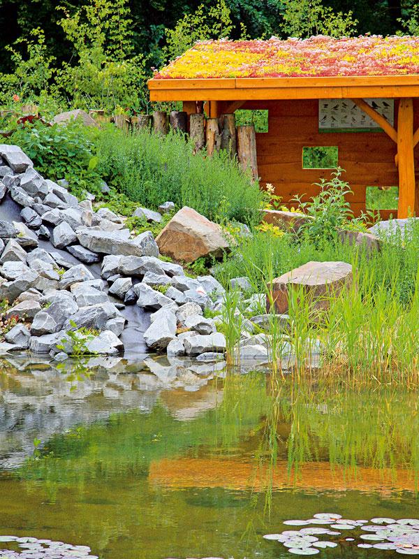 Ústrednou časťou záhrady je prírodné jazierko sdreveným záhradným domčekom avegetačnou strechou.