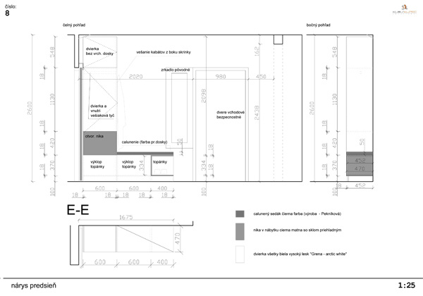 návrh nábytkovej zostavy do priestoru vstupu