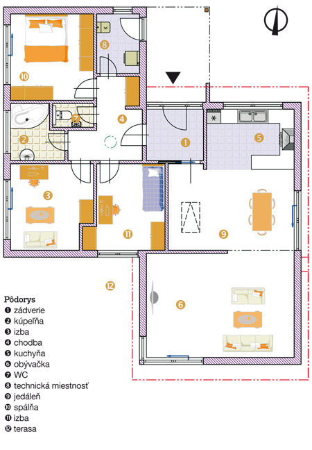 Pôdorys 1 zádverie 2 kúpeľňa 3 izba 4 chodba 5 kuchyňa 6 obývačka 7 WC 8 technická miestnosť 9 jedáleň 10 spálňa 11 izba 12 terasa