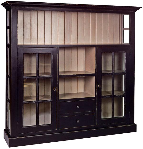Drevená vitrína spatinou, voľba rôznych materiálov, 167 × 158 × 38 cm, 675 €, www.anglickasezona.cz