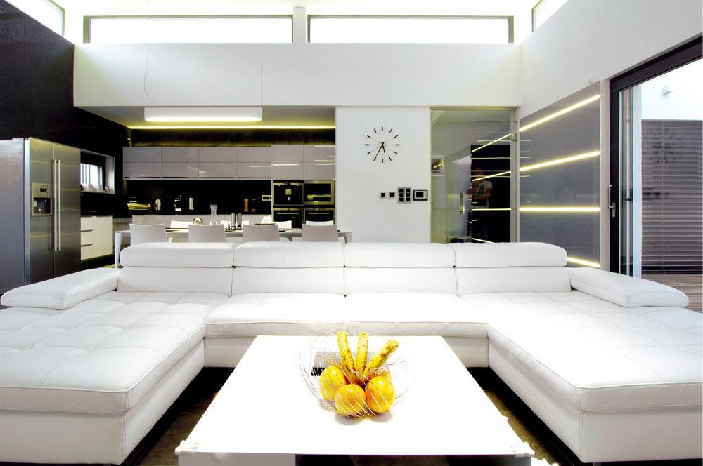 Hlavný spoločenský priestor sobývacou izbou, kuchyňou ajedálňou má zvýšený strop až na 4 m, čím získal okrem veľkej plochy aj veľký objem avzdušnosť. Množstvo prirodzeného svetla sa sem dostáva cez veľké zasklenia na dvoch stranách priestoru, smerom do átria atiež oproti smerom na malú vonkajšiu terasu sposedením avýhľadom do krajiny.