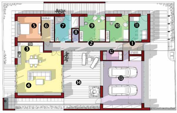 Pôdorys 1 – zádverie, 2 – chodba, 3 – kuchyňa sjedálňou, 4 – obývacia izba, 5 – spálňa, 6 – šatník, 7 – kúpeľňa, 8 – WC, 9 – izba, 10 – izba, 11 – pracovňa, 12 – technická miestnosť, 13 – garáž, 14 – átrium
