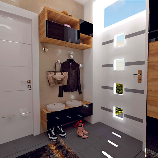 Vešiaky askrinka na topánky. Vpravo vstupné dvere, vľavo dvere do garáže.